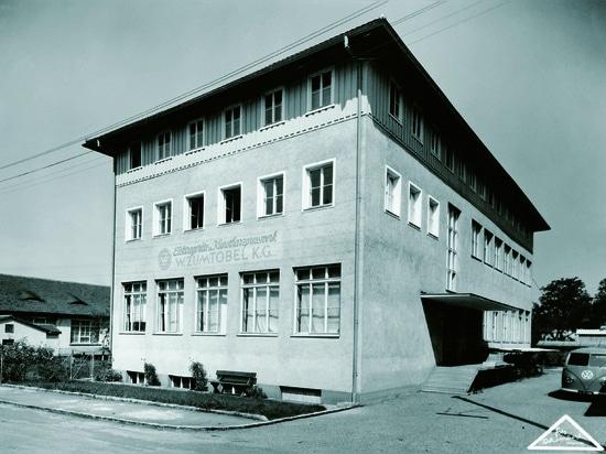 Vista de la primera fábrica de iluminación de Zumtobel en Dornbirn