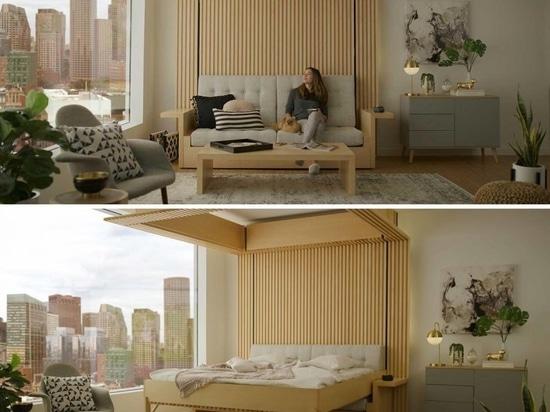 Esta cama que cae del techo fue diseñada como una solución para los pequeños apartamentos