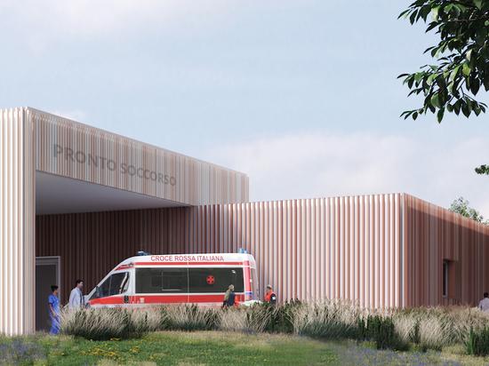 Renderización del Hospital de Emergencia 19.