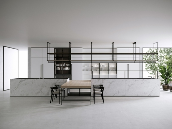 El último sistema de cocina y comedor de Boffi, llamado Combine, diseñado por Pierro Lissoni.