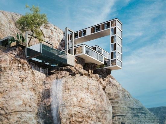 """La """"casa de montaña"""" en voladizo de Milad Eshtiyaghi serpentea sobre un acantilado en tres dimensiones"""