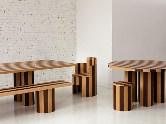 Mesa de comedor rectangular y banco Cooperage, mesa de comedor redonda y taburete, y silla (2019)