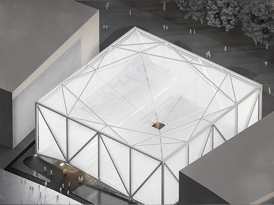el exterior de la exposición brasileña - un cubo luminoso