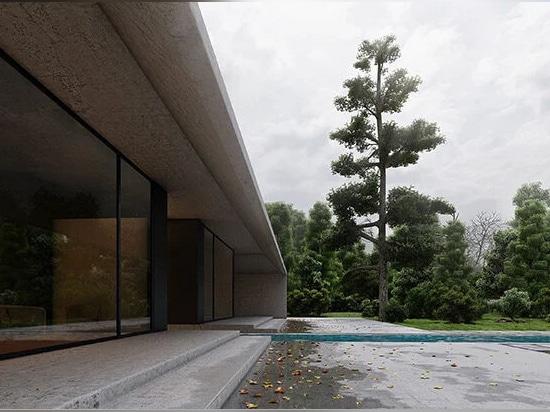 el agua de lluvia se canaliza desde el tejado y el patio hacia una fuente de agua