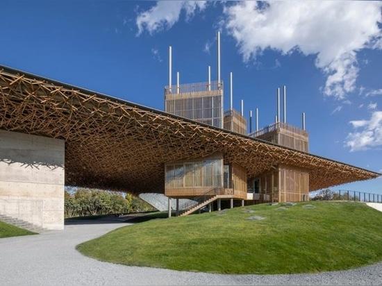 La cubierta ondulada define el centro de arte chino de inspiración orgánica