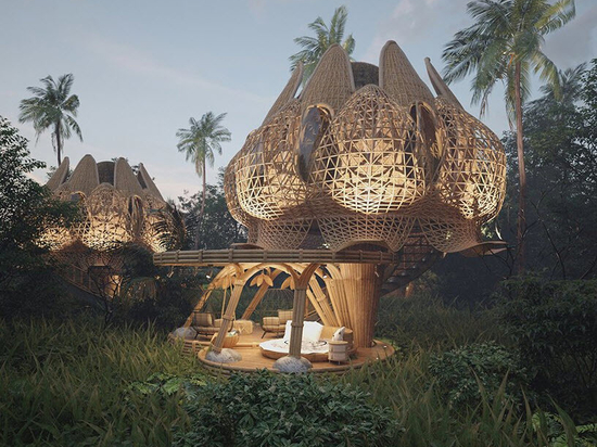 Los volúmenes de bambú entretejidos en forma de flor de loto dan forma a las villas de ensueño de Thilina Liyanage