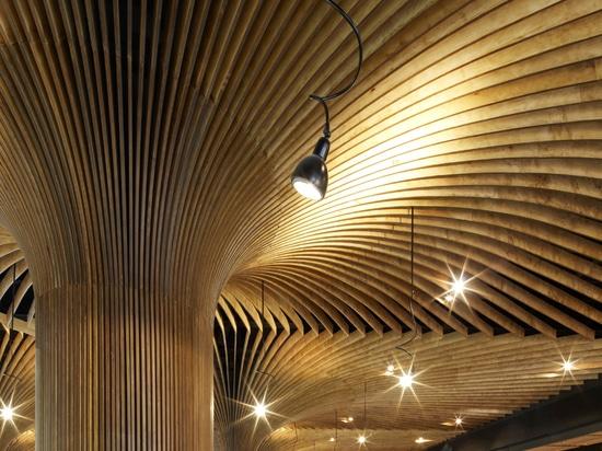 los pabellones extienden en las zonas de la circulación, proporcionando un techo continuo en el mercado