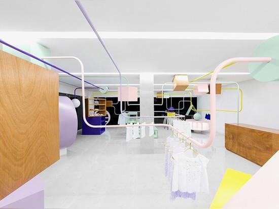 Anagrama inserta el laberinto en colores pastel gigante del grano en el boutique de los niños del kindo