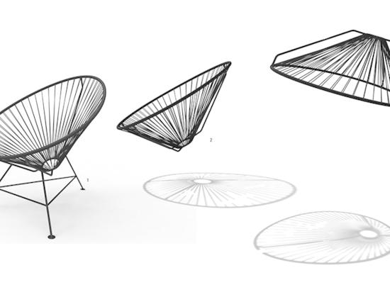 el concepto era dar vuelta a la silla icónica de acapulco y darle vuelta en una lámpara