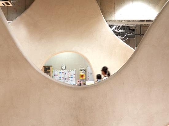 Junya Ishigami crea el cuarto de niños con las paredes nube-formadas dentro de un bloque de la alta subida