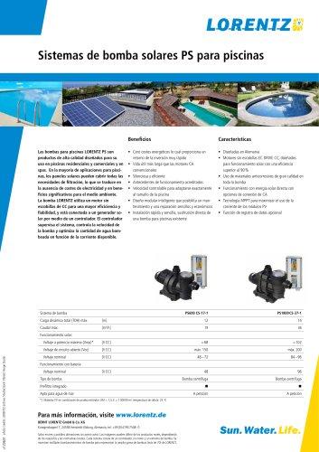 PS Sistemas de bomba solares para piscinas