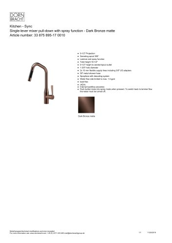 Single-lever mixer pull-down with spray function - Dark Bronze matte