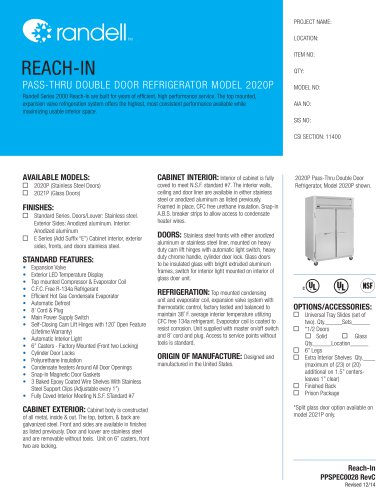 PASS-THRU DOUBLE DOOR REFRIGERATOR MODEL 2020P