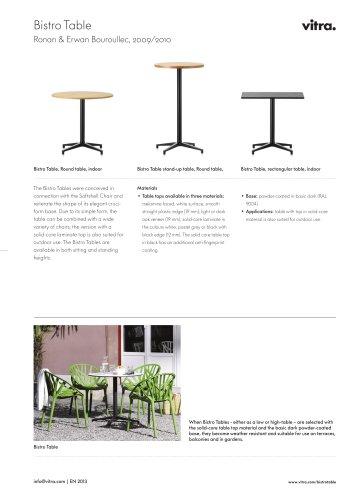Bistro Table Factsheet