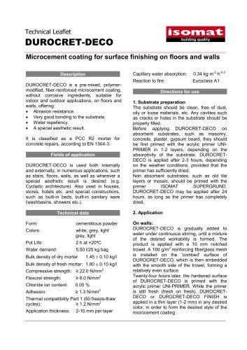 Technical Datasheet DUROCRET-DECO