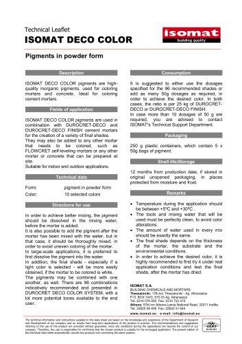 Technical Datasheet ISOMAT DECO COLOR