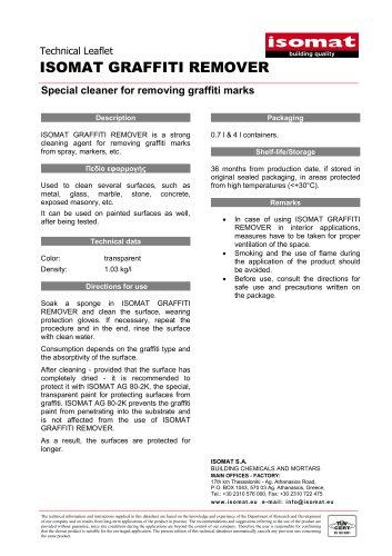 Technical Datasheet ISOMAT GRAFFITI REMOVER