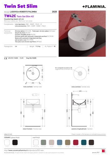 lavabo Twin Set Slim appoggio senza piano rubinetteria