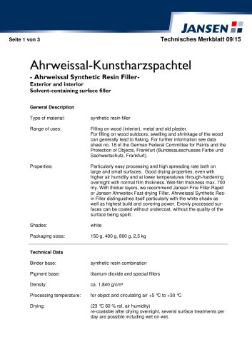 Ahrweissal Synthetic Resin Filler