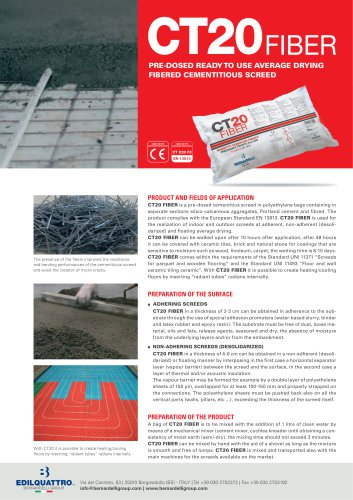 CT20 FIBER-pre-dosed ready to use average drying fibered cementitius screed