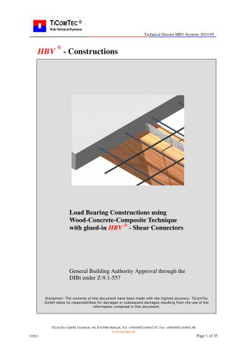 Load Bearing Constructions using Wood-Concrete-Composite Technique with glued-in HBV  - Shear Connectors