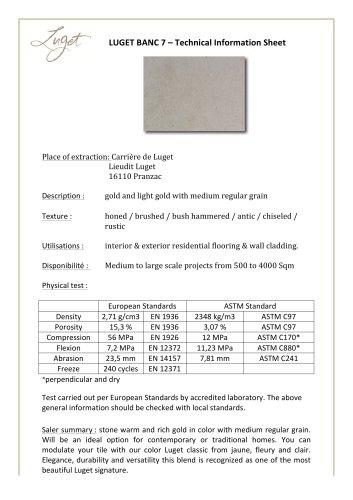 LUGET BANC 7 – Technical Information Sheet