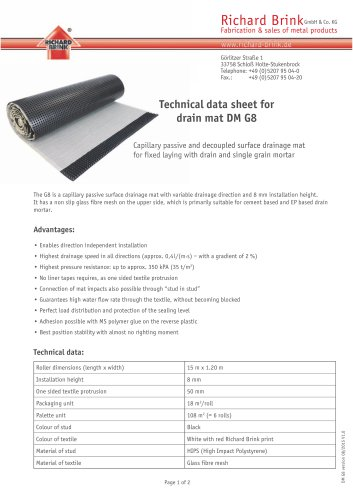 Technical data sheet for drain mat DM G8