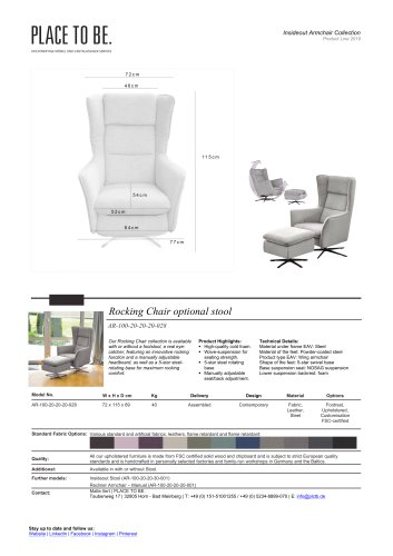 AR-100-20-20-20-028 Rocking Chair Data Sheet