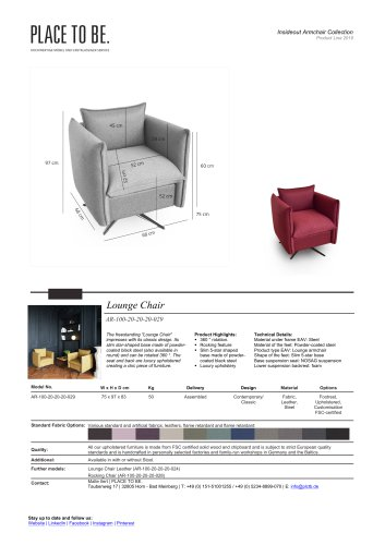AR-100-20-20-20-029 - Lounge Chair - Data Sheet