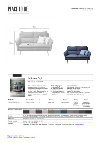 AR-100-20-30-20-001 - 2-Seater Sofa - Data Sheet