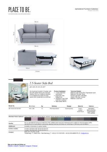 AR-100-20-30-20-007 - 2.5-Seater Sofa Bed - Data Sheet