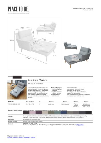 AR-100-20-30-20-008 Daybed with right-side armrest - Data Sheet