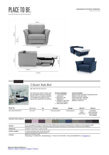 AR-100-20-30-20-014 - 2-Seater Sofa Bed - Data Sheet