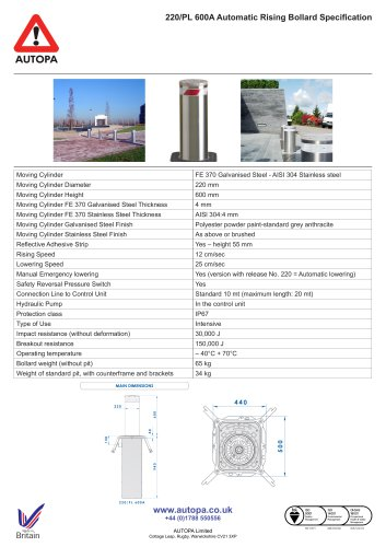 220/PL 600A Automatic Rising Bollard Specification