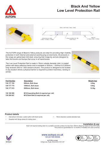 Black And Yellow Low Level Protection Rail