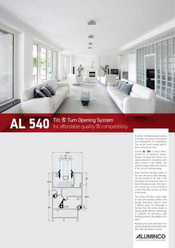 AL 540 Tilt & Turn Opening System for affordable quality & compatibility