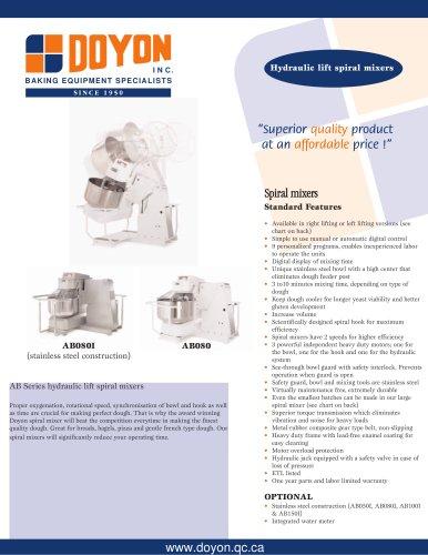 Hydraulic lift spiral mixers