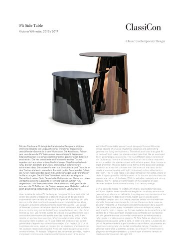 ClassiCon Pli Side table Product Sheet