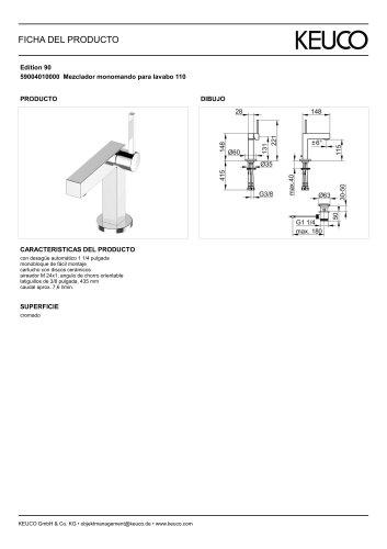 59004010000 Mezclador monomando para lavabo 110