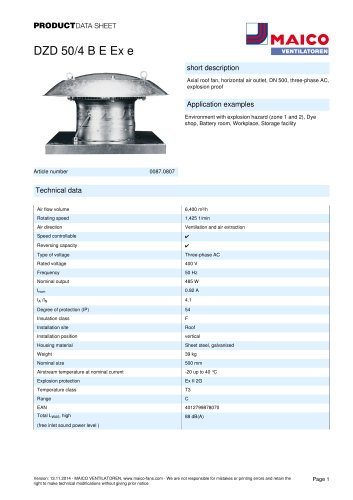 Axial roof fan DZD 50/4 B E Ex e