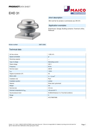 Centrifugal roof fan EHD 31