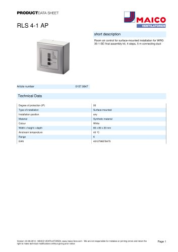 Product data sheet Room air control RLS 4-1 AP