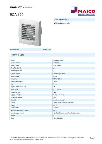 Product data sheet Small room fan ECA 120