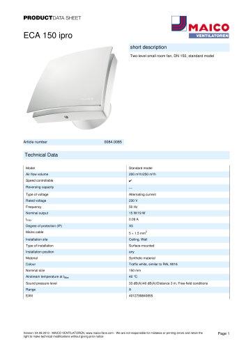 Product data sheet Small room fan ECA 150 ipro
