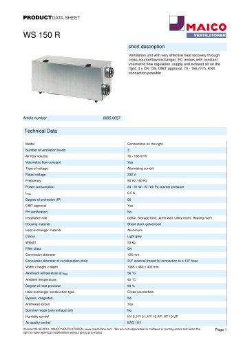 Product data sheet Ventilation unit WS 150 R
