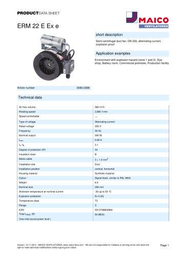 Semi-centrifugal duct fan ERM 22 E Ex e