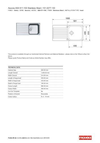 Ascona ASX 611-100 Stainless Steel | 101.0277.130