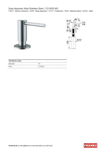 Soap dispenser Atlas Stainless Steel | 112.0625.483
