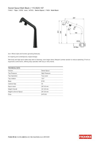 Swivel Spout Matt Black | 115.0625.187