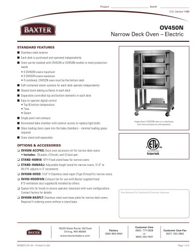 OV450N Narrow Deck Oven ? Electric